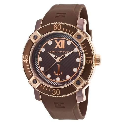 Ted Lapidus Herren 45mm Braun Kautschuk Armband Edelstahl Gehaeuse Uhr 5124906SM