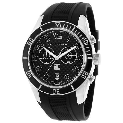 Ted Lapidus Herren 44mm Chronograph Schwarz Kautschuk Armband Uhr 5125001SM