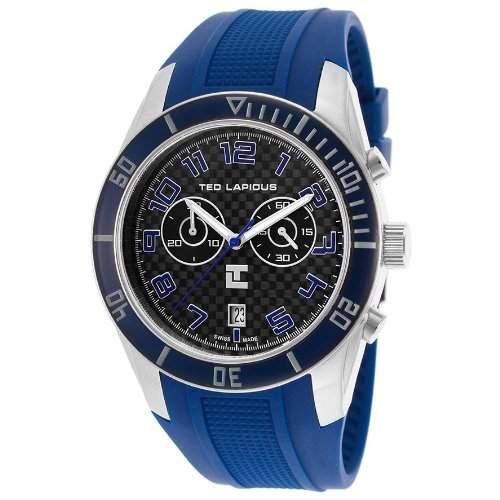 Ted Lapidus Herren 44mm Chronograph Blau Kautschuk Armband Datum Uhr 5125002SM