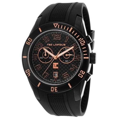 Ted Lapidus Herren 44mm Chronograph Schwarz Kautschuk Armband Uhr 5125003SM