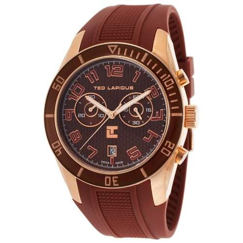 Ted Lapidus Herren 44mm Chronograph Kautschuk Armband Mineral Glas Uhr 5125005SM