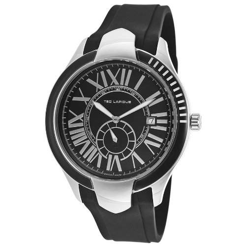 Ted Lapidus Herren 44mm Schwarz Kautschuk Armband Mineral Glas Uhr 5125101SM