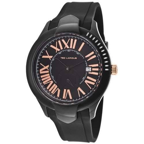 Ted Lapidus Herren 44mm Schwarz Kautschuk Armband Mineral Glas Uhr 5125102SM