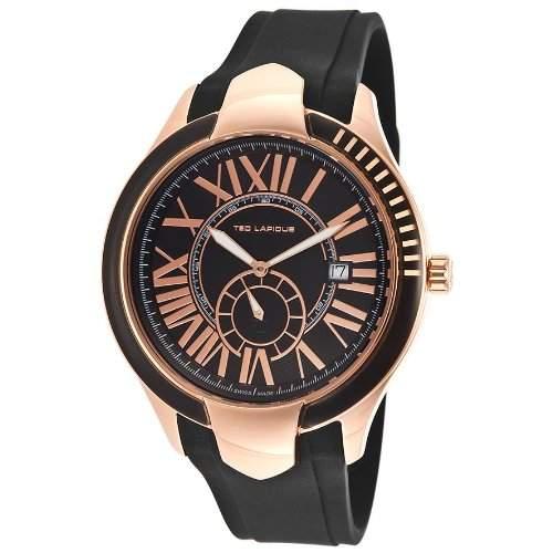 Ted Lapidus Herren 44mm Schwarz Kautschuk Armband Mineral Glas Uhr 5125103SM