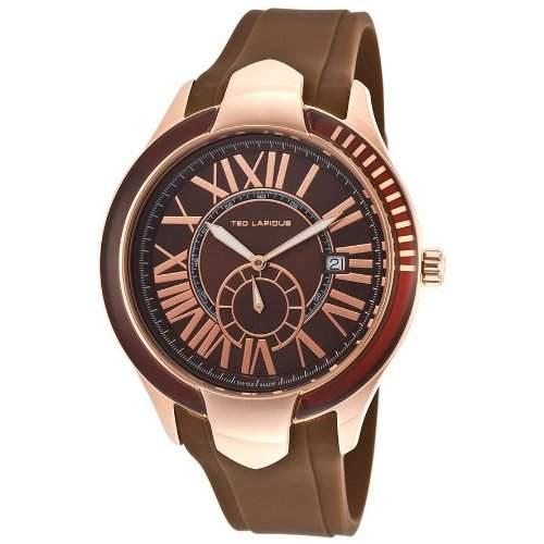 Ted Lapidus Herren 44mm Braun Kautschuk Armband Edelstahl Gehaeuse Uhr 5125104SM