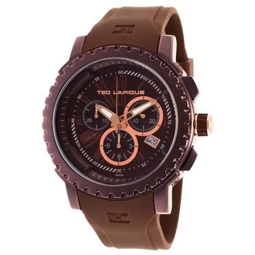 Ted Lapidus Herren 45mm Chronograph Braun Kautschuk Armband Datum Uhr 5125405SM