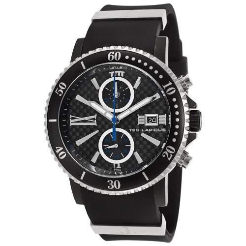 Ted Lapidus Herren 44mm Chronograph Schwarz Kautschuk Armband Uhr 5125502SM