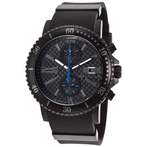 Ted Lapidus Herren 44mm Chronograph Schwarz Kautschuk Armband Uhr 5125503SM