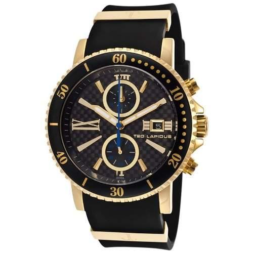 Ted Lapidus Herren 44mm Chronograph Schwarz Kautschuk Armband Uhr 5125504SM