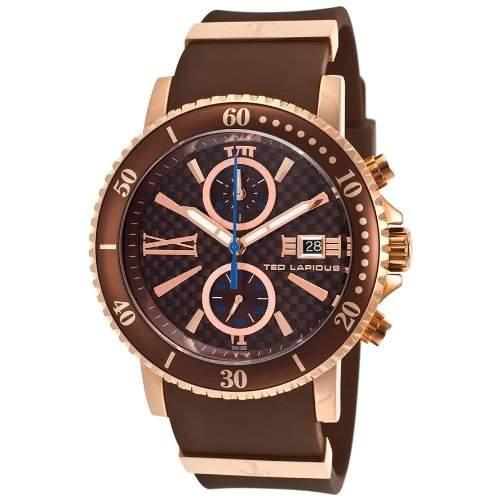 Ted Lapidus Herren 44mm Chronograph Braun Kautschuk Armband Datum Uhr 5125505SM