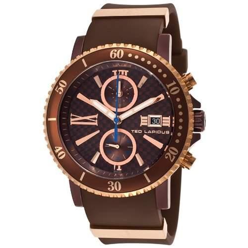 Ted Lapidus Herren 44mm Chronograph Braun Kautschuk Armband Datum Uhr 5125506SM