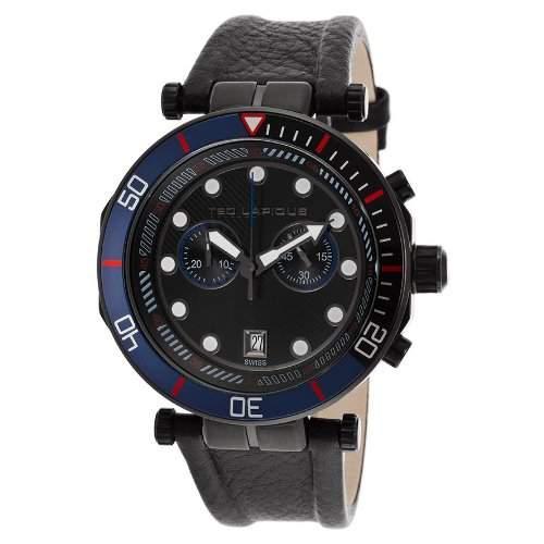 Ted Lapidus Herren 44mm Chronograph Schwarz Kautschuk Armband Uhr 5125602SM