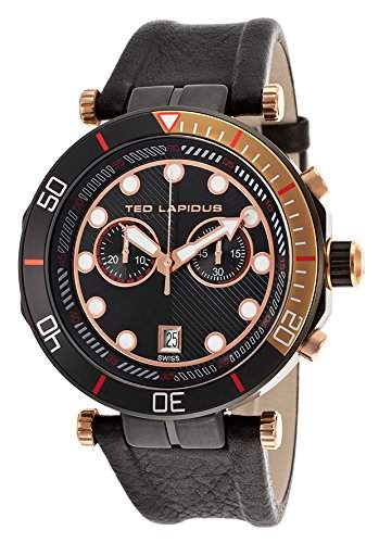 Ted Lapidus Herren 44mm Chronograph Schwarz Leder Armband Uhr 5125603SM