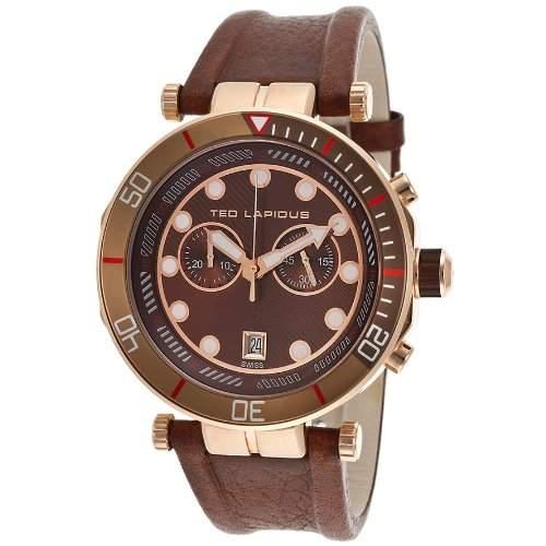 Ted Lapidus Herren 44mm Chronograph Braun Kautschuk Armband Datum Uhr 5125604SM