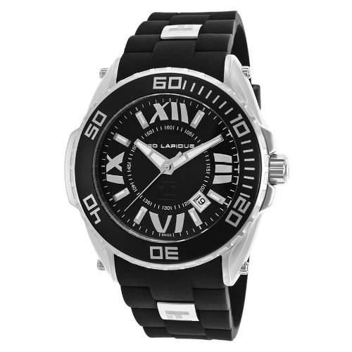Ted Lapidus Herren 47mm Schwarz Kautschuk Armband Mineral Glas Uhr 5125801SM
