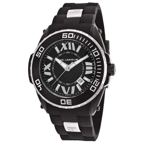 Ted Lapidus Herren 47mm Schwarz Kautschuk Armband Mineral Glas Uhr 5125802SM