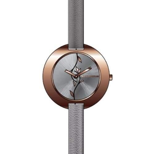 A0300UGNI Ted Lapidus Damen-Armbanduhr Anastasie Quarz analog Leder grau