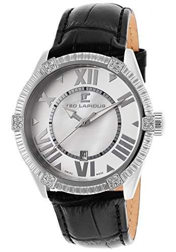Ted Lapidus Damen 40mm Schwarz Leder Armband Edelstahl Gehaeuse Uhr A0511RARNSM
