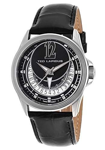 Ted Lapidus Damen 38mm Schwarz Leder Armband Edelstahl Gehaeuse Uhr A0512RNINSM