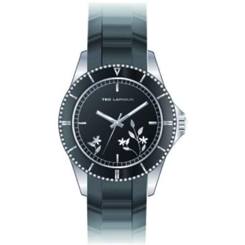 Ted Lapidus Damen-Armbanduhr Analog Kautschuk schwarz A0528RNPN