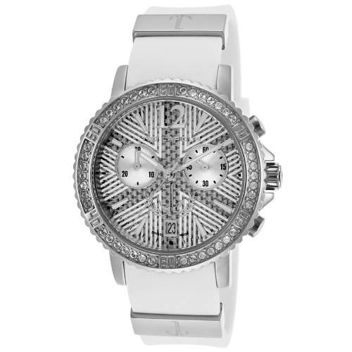 Ted Lapidus Damen 38mm Chronograph Weiss Kautschuk Armband Datum Uhr A0531GAIFSM