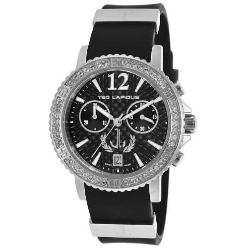 Ted Lapidus Damen 38mm Chronograph Schwarz Kautschuk Armband Uhr A0531GNINSM