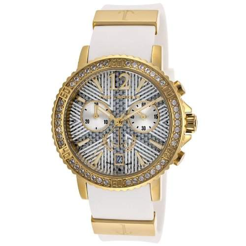 Ted Lapidus Damen 38mm Chronograph Weiss Kautschuk Armband Datum Uhr A0531HAIFSM