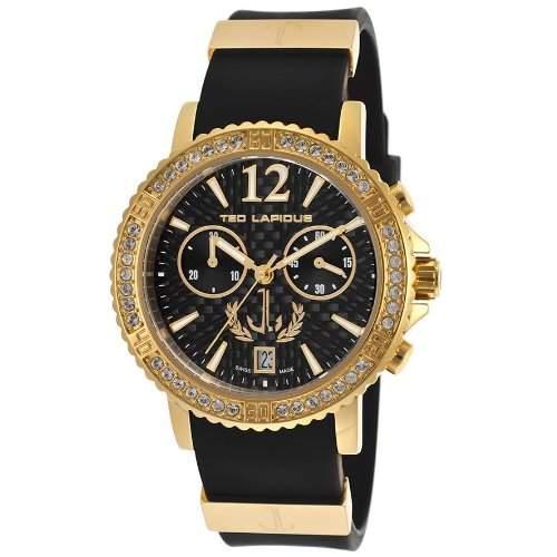 Ted Lapidus Damen 38mm Chronograph Schwarz Kautschuk Armband Uhr A0531HNINSM