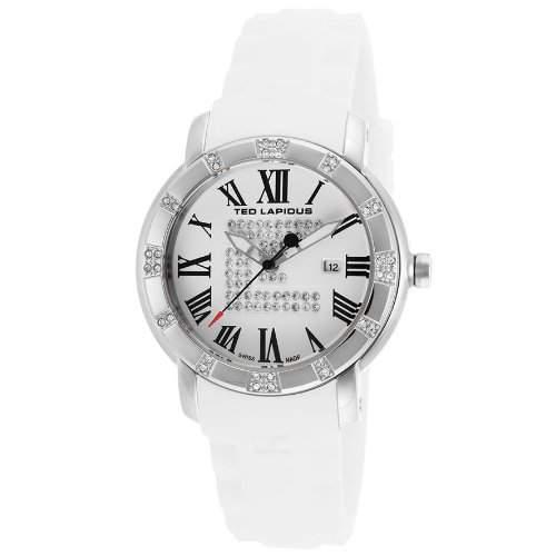 Ted Lapidus Damen 36mm Weiss Kautschuk Armband Edelstahl Gehaeuse Uhr A0532GARFSM