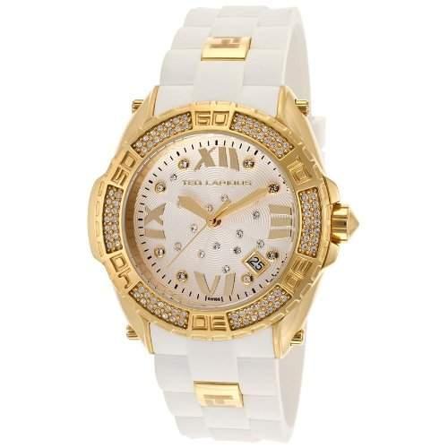 Ted Lapidus Damen 40mm Weiss Kautschuk Armband Edelstahl Gehaeuse Uhr A0552PAGFSM