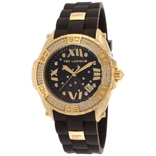 Ted Lapidus Damen 40mm Schwarz Kautschuk Armband Mineral Glas Uhr A0552PNGNSM