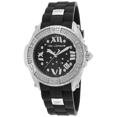 Ted Lapidus Damen 40mm Schwarz Kautschuk Armband Mineral Glas Uhr A0552RNGNSM