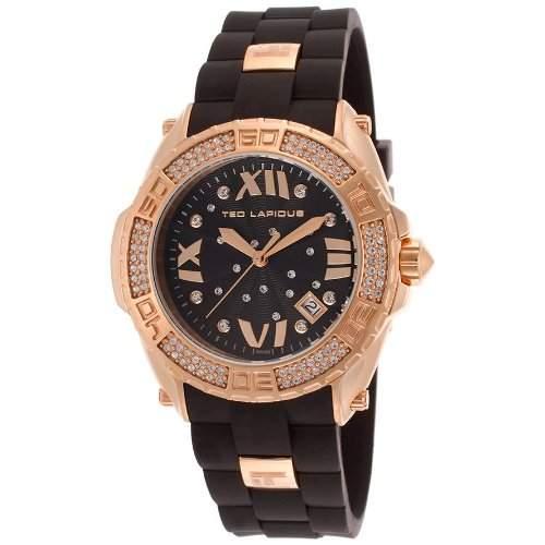 Ted Lapidus Damen 40mm Schwarz Kautschuk Armband Mineral Glas Uhr A0552UNGNSM