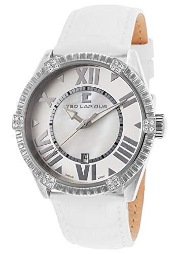 Ted Lapidus Damen-Armbanduhr 40mm Armband Leder Weiss Gehaeuse Edelstahl Schweizer Quarz Datum A0511RARFSM