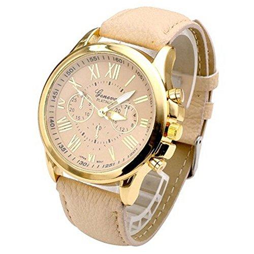 psfy 2016 Neue Styles Geneva Leder creme Uhren mit Gold Oberflaeche Armbanduhr Unisex Uhren Armbanduhr