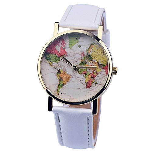 psfy 2016 Neue Styles Leder Uhren mit Weiss Welt Karte Armbanduhr Unisex Uhren Armbanduhr