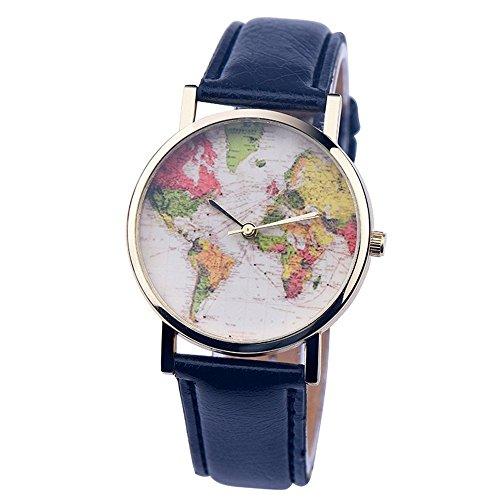 psfy 2016 Neue Styles Leder Uhren mit Schwarz Weltkarte Armbanduhr Unisex Uhren Armbanduhr