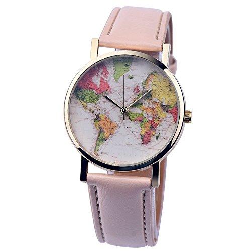 psfy 2016 Neue Styles Leder Uhren mit creme Weltkarte Armbanduhr Unisex Uhren Armbanduhr