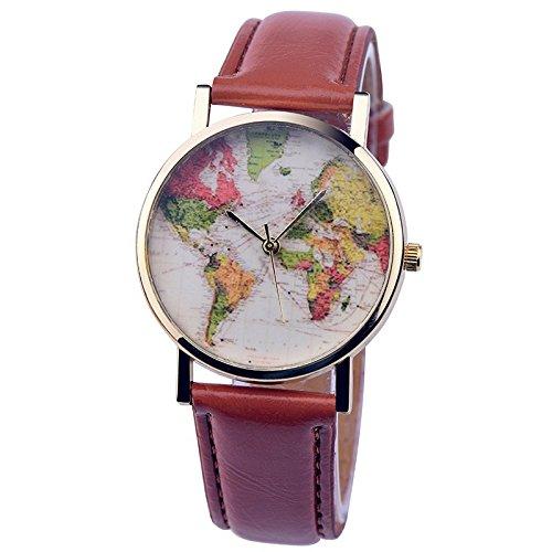 psfy 2016 Neue Styles Leder Uhren mit Tan Weltkarte Uhr Unisex Uhren Armbanduhr
