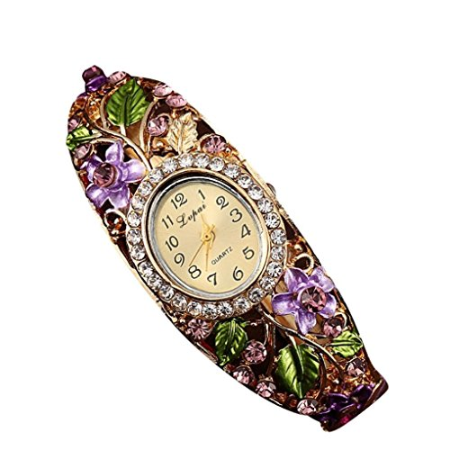 psfy Frauen Slim Blume Blaetter reinstone rund Band Armband Armbanduhr Weihnachten Geschenk lila