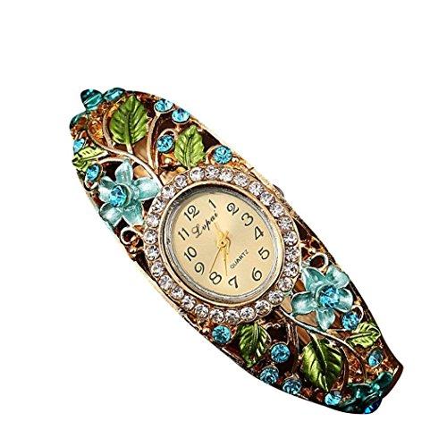 psfy Frauen Slim Blume Blaetter reinstone rund Band Armband Armbanduhr Weihnachten Geschenk blau