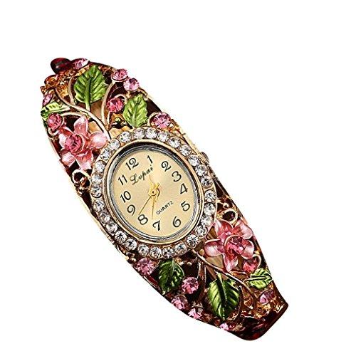 psfy Frauen Slim Blume Blaetter reinstone rund Band Armband Armbanduhr Weihnachten Geschenk Pink