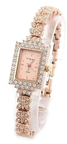 psfy Marke New Lady Frauen Quarz Strass Kristall Armbanduhr quadratisch gold Oberflaeche