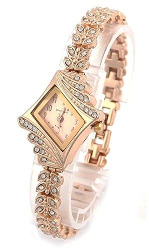 psfy Marke New Lady Frauen Quarz Strass Kristall Armbanduhr Rhombus Gold Oberflaeche