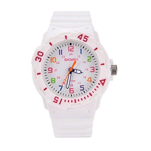 Fashion Wasserdicht Kinder Kids Maedchen Jungen Studenten Quarz Uhren Armbanduhr Armbanduhr Weiss