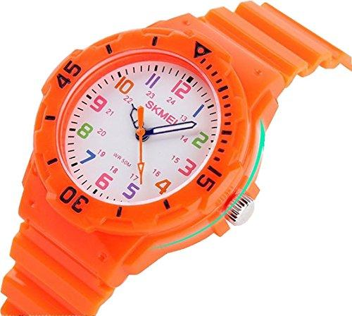 Fashion Wasserdicht Kinder Kids Maedchen Jungen Studenten Quarz Uhren Armbanduhr Armbanduhr Orange