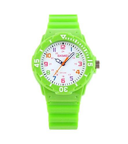 Fashion Wasserdicht Kinder Kids Maedchen Jungen Studenten Quarz Uhren Armbanduhr Armbanduhr Gruen