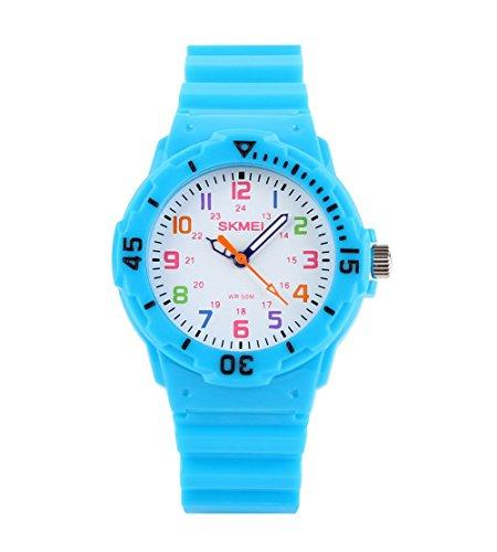 Fashion Wasserdicht Kinder Kids Maedchen Jungen Studenten Quarz Uhren Armbanduhr Armbanduhr Hellblau