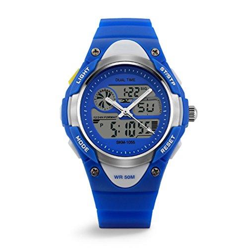 topcabin Jungen Maedchen Kunstharz Haende und Kind Schwimmen Student Digitale Sport Armbanduhr 50 m Wasserdicht Uhr Blau