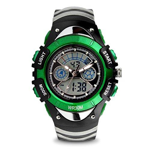 topcabin Multifunktions elektronische Verkauf Armbanduhr Jungen und Maedchen Mode und Persoenlichkeit Studenten Wasserdicht Double Time tauchen Uhren gruen